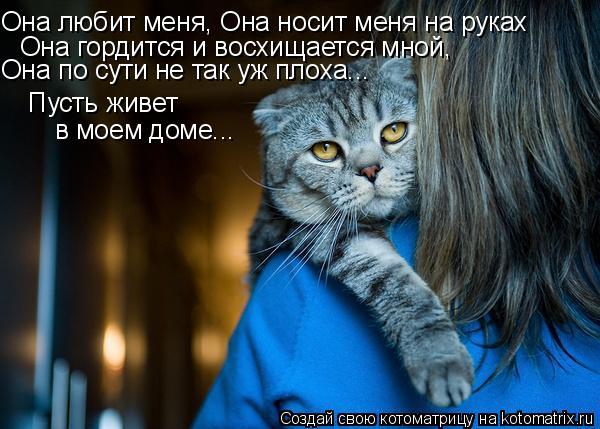 Котоматрица: Она любит меня, Она носит меня на руках Она гордится и восхищается мной,  Она по сути не так уж плоха... Пусть живет  в моем доме...