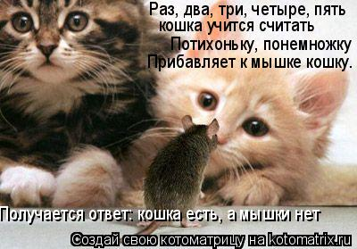 Котоматрица: Раз, два, три, четыре, пять  кошка учится считать Потихоньку, понемножку Прибавляет к мышке кошку. Получается ответ: кошка есть, а мышки нет
