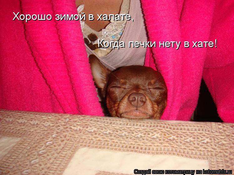 Котоматрица: Хорошо зимой в халате, Когда печки нету в хате!