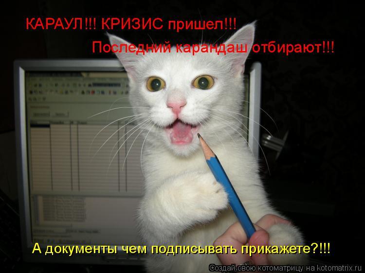 Котоматрица: КАРАУЛ!!! КРИЗИС пришел!!! Последний карандаш отбирают!!! А документы чем подписывать прикажете?!!!