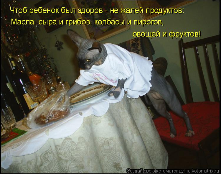 Котоматрица: Чтоб ребенок был здоров - не жалей продуктов: Масла, сыра и грибов, колбасы и пирогов,  овощей и фруктов!