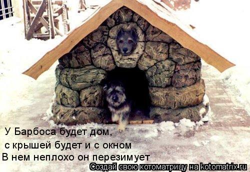 Котоматрица: E В нем неплохо он перезимует У Барбоса будет дом,  с крышей будет и с окном