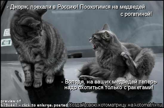 Котоматрица: - Джорж, поехали в Россию! Поохотимся на медведей  с рогатиной! - Володя, на ваших медведей теперь надо охотиться только с ракетами!