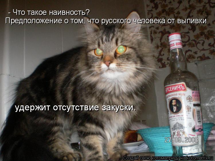 Котоматрица: - Что такое наивность? Предположение о том, что русского человекa от выпивки   удержит отсутствие закуски.