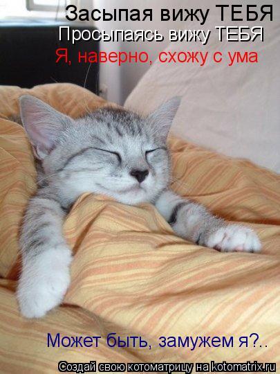 Котоматрица: Засыпая вижу ТЕБЯ Просыпаясь вижу ТЕБЯ Я, наверно, схожу с ума Может быть, замужем я?..