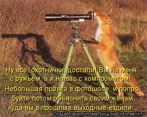 Котоматрица: Ну всё, охотнички, достали! Вы на меня  с ружьём, а я на вас с компроматом!  Небольшая правка в фотошопе, и попро- буйте потом объяснить своим ж