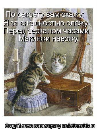 Котоматрица: По секрету вам скажу: Я за внешностью слежу Перед зеркалом часами Макияжи навожу.