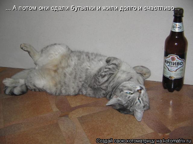 Котоматрица: ... А потом они сдали бутылки и жили долго и счастливо...