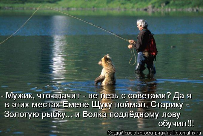 Котоматрица: - Мужик, что значит - не лезь с советами? Да я в этих местах Емеле Щуку поймал, Старику -  Золотую рыбку... и Волка подлёдному лову обучил!!!