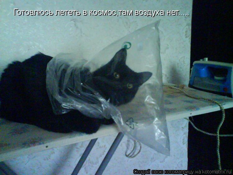 Котоматрица: Готовлюсь лететь в космос,там воздуха нет.....