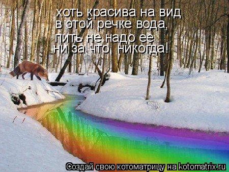 Котоматрица: хоть красива на вид в этой речке вода, пить не надо ее ни за что, никогда!