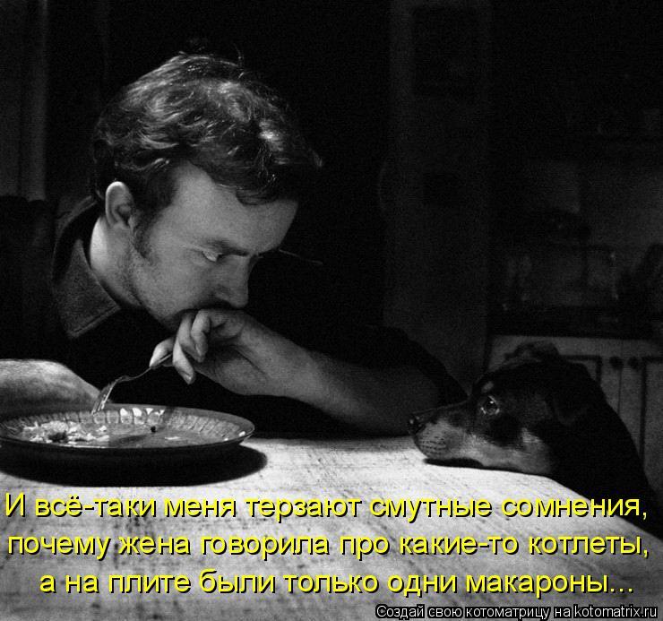 Котоматрица: И всё-таки меня терзают смутные сомнения,  почему жена говорила про какие-то котлеты,  а на плите были только одни макароны...