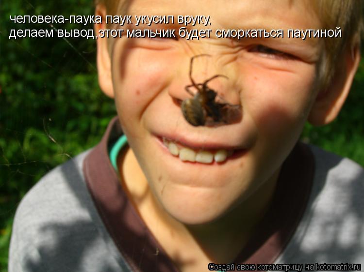 Котоматрица: человека-паука паук укусил вруку, делаем вывод,этот мальчик будет сморкаться паутиной