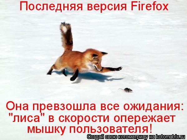 """Котоматрица: Последняя версия Firefox  Она превзошла все ожидания: мышку пользователя! """"лиса"""" в скорости опережает"""