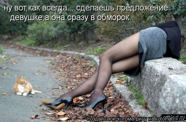 Котоматрица: ну вот,как всегда....сделаешь предложение  девушке,а она сразу в обморок.