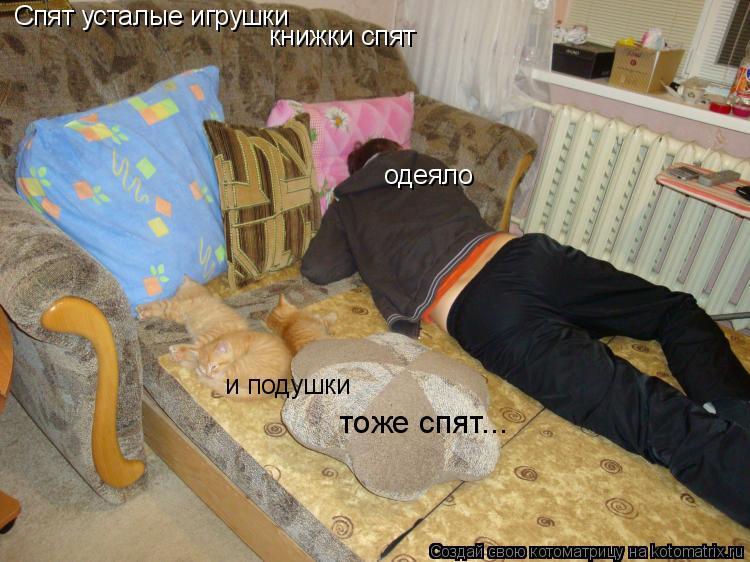 Котоматрица: Спят усталые игрушки  книжки спят одеяло и подушки тоже спят...