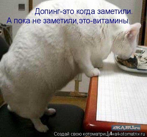 Котоматрица: Допинг-это когда заметили. А пока не заметили,это-витамины.