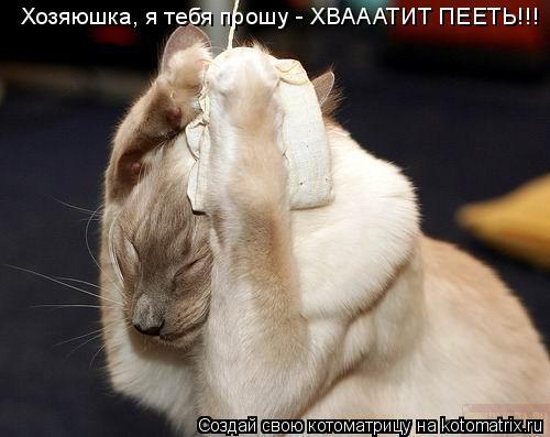 Котоматрица: Хозяюшка, я тебя прошу - ХВАААТИТ ПЕЕТЬ!!!