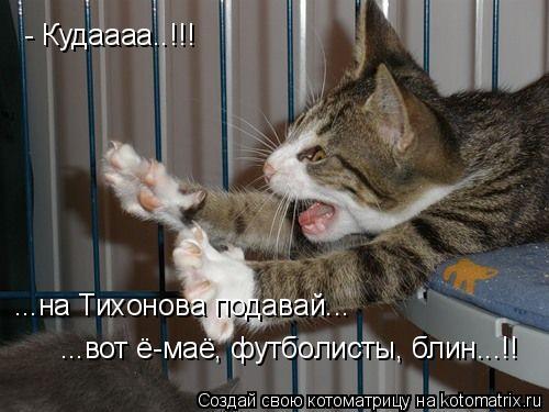 Котоматрица: - Кудаааа..!!! ...на Тихонова подавай... ...вот ё-маё, футболисты, блин...!!