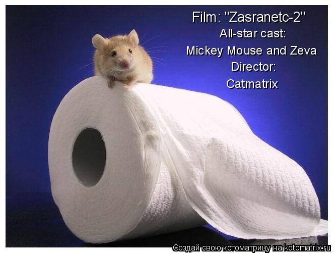 "Котоматрица: Film: ""Zasranetc-2"" All-star cast: Mickey Mouse and Zeva Director:  Catmatrix"