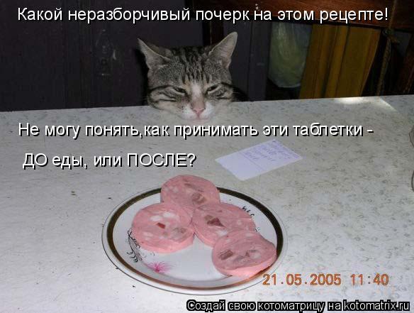 Котоматрица: Какой неразборчивый почерк на этом рецепте! Не могу понять,как принимать эти таблетки - ДО еды, или ПОСЛЕ?