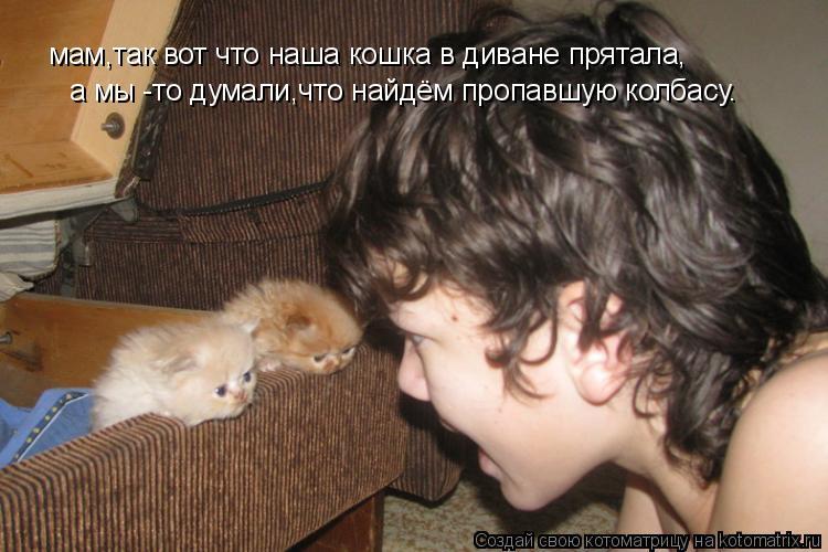 Котоматрица: мам,так вот что наша кошка в диване прятала, а мы -то думали,что найдём пропавшую колбасу.