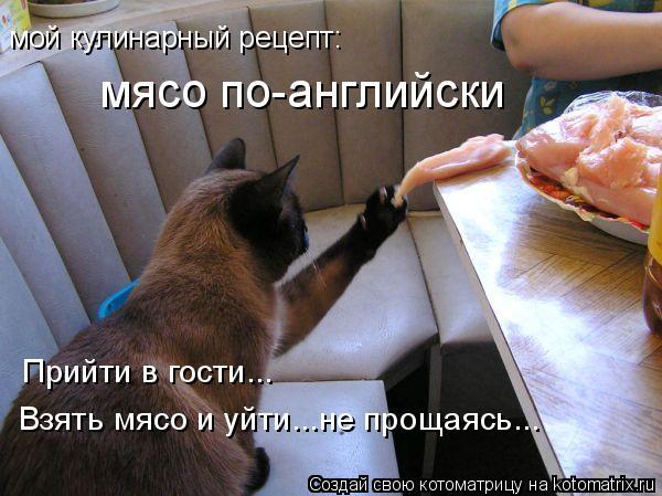 Котоматрица: мой кулинарный рецепт:  мясо по-английски Прийти в гости... Взять мясо и уйти...не прощаясь...