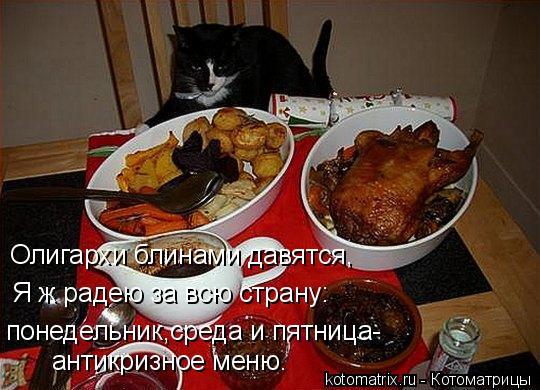 Котоматрица: Олигархи блинами давятся, Я ж радею за всю страну: понедельник,среда и пятница- антикризное меню.