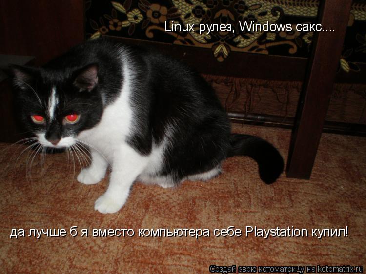 Котоматрица: Linux рулез, Windows сакс....  да лучше б я вместо компьютера себе Playstation купил!