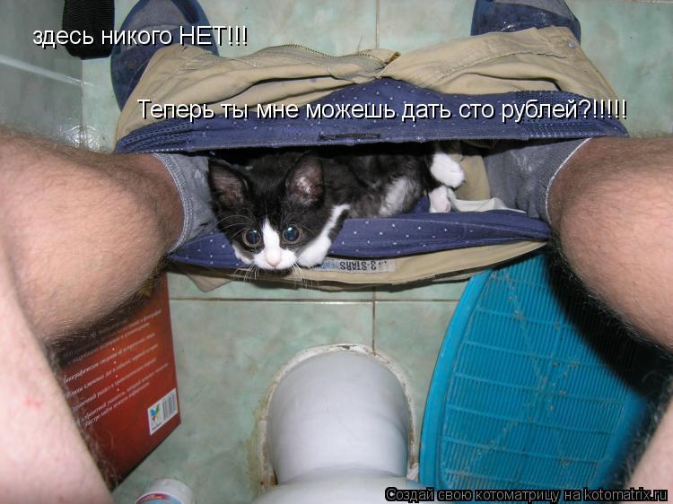 Котоматрица: здесь никого НЕТ!!! Теперь ты мне можешь дать сто рублей?!!!!!