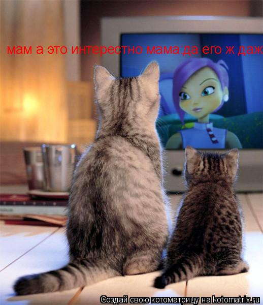 Котоматрица: мам а это интерестно мама:да его ж даже коты смотрят:)))