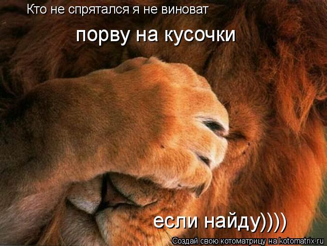 Котоматрица: Кто не спрятался я не виноват порву на кусочки если найду))))