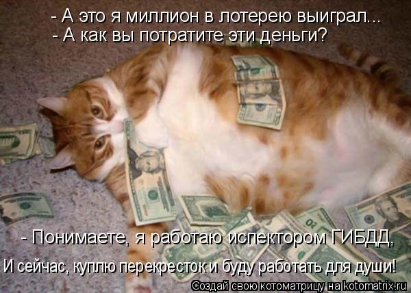 Котоматрица: - А это я миллион в лотерею выиграл... - А как вы потратите эти деньги? - Понимаете, я работаю испектором ГИБДД, И сейчас, куплю перекресток и бу