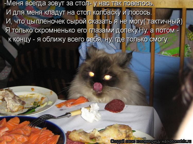 Котоматрица: И для меня кладут на стол колбаску и лосось. -Меня всегда зовут за стол- у нас так повелось. И, что цыпленочек сырой сказать я не могу( тактичн