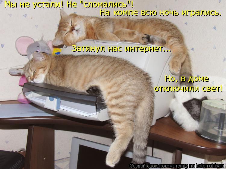 """Котоматрица: Мы не устали! Не """"сломались""""! На компе всю ночь игрались. Затянул нас интернет... Но, в доме отключили свет!"""