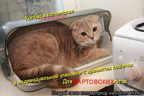 Котоматрица: Колбаса коткинская в индивидуальной упаковке с ароматом кошечки Для                            котов МАРТОВСКИХ специальная