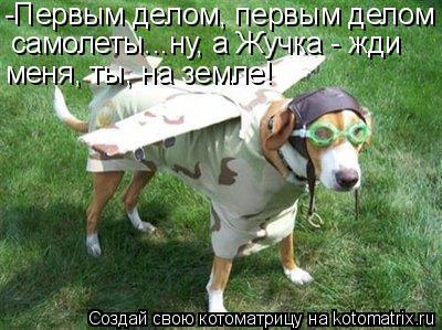 Котоматрица: -Первым делом, первым делом самолеты...ну, а Жучка - жди меня, ты, на земле!