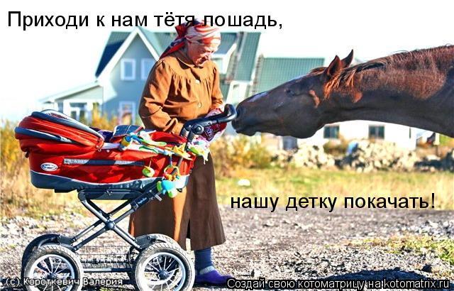 Котоматрица: Приходи к нам тётя лошадь, нашу детку покачать!