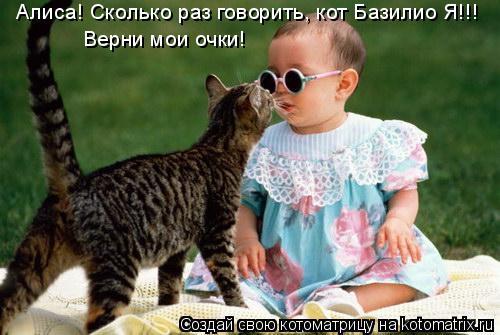 Котоматрица: Алиса! Сколько раз говорить, кот Базилио Я!!! Верни мои очки!