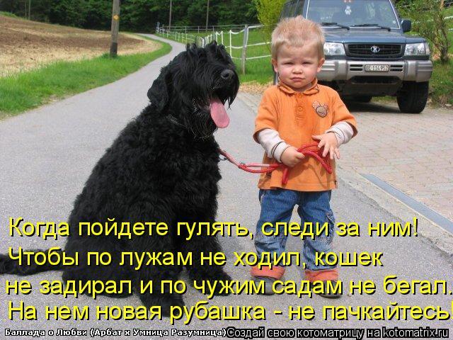 Котоматрица: Когда пойдете гулять, следи за ним! Чтобы по лужам не ходил, кошек не задирал и по чужим садам не бегал. На нем новая рубашка - не пачкайтесь!