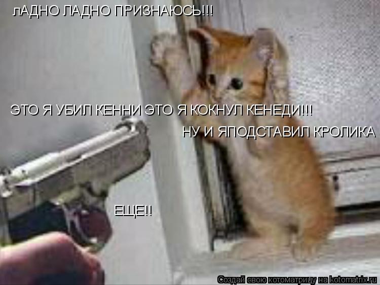 Котоматрица: лАДНО ЛАДНО ПРИЗНАЮСЬ!!! ЭТО Я УБИЛ КЕННИ ЭТО Я КОКНУЛ КЕНЕДИ!!! ЕЩЕ!! НУ И ЯПОДСТАВИЛ КРОЛИКА РОДЖЕРА!!!