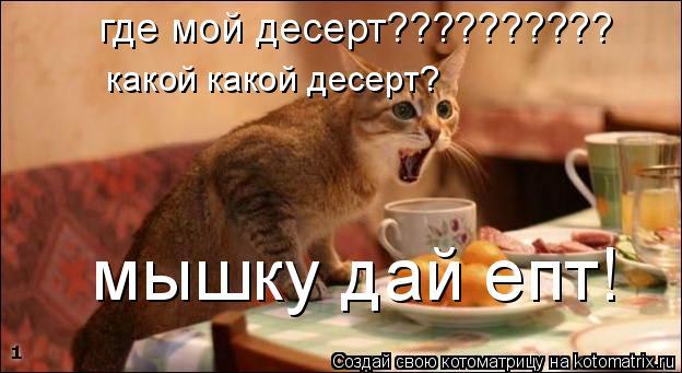 Котоматрица: где мой десерт??????????  какой какой десерт?  мышку дай епт!