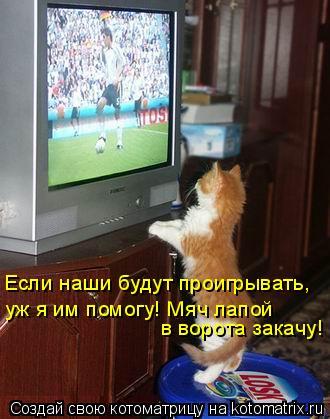 Котоматрица: Если наши будут проигрывать, уж я им помогу! Мяч лапой в ворота закачу!