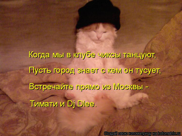 Котоматрица: Когда мы в клубе чиксы танцуют, Пусть город знает с кем он тусует, Встречайте прямо из Москвы - Тимати и Dj Dlee.