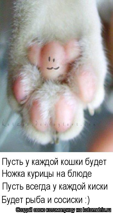 Котоматрица: Ножка курицы на блюде Пусть у каждой кошки будет Пусть всегда у каждой киски Будет рыба и сосиски :)