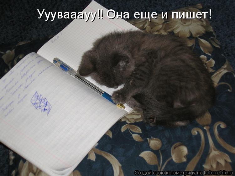 Котоматрица: Ууувааауу!! Она еще и пишет!