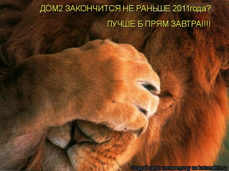 Котоматрица: ДОМ2 ЗАКОНЧИТСЯ НЕ РАНЬШЕ 2011года? ЛУЧШЕ Б ПРЯМ ЗАВТРА!!!!