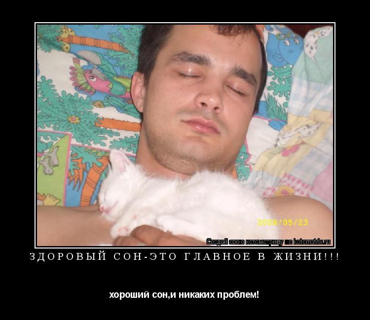 Котоматрица: здоровый сон-это главное в жизни!!! хороший сон,и никаких проблем!