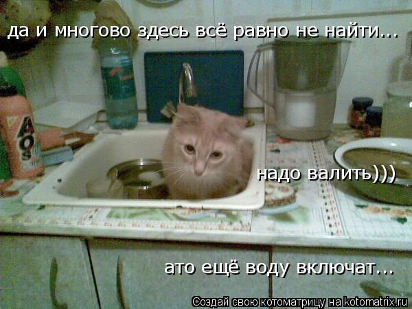 Котоматрица: да и многово здесь всё равно не найти... надо валить))) ато ещё воду включат...