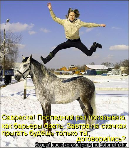 Котоматрица: Савраска! Последний раз показываю, как барьеры брать. Завтра на скачках прыгать будешь только ты,  договорились?